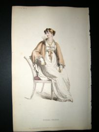 Ackermann 1813 Hand Col Regency Fashion Print. Opera Dress 9-13